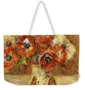 Still Life With Anemones  Weekender Tote Bag by Pierre Auguste Renoir