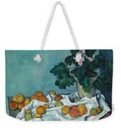 Still Life With Apples And A Pot Of Primroses, 1890 Weekender Tote Bag