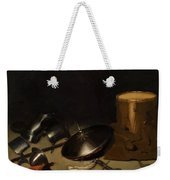 Still Life With Armor Shield Halberd Sword Leather Jacket And Drum Weekender Tote Bag