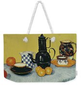 Still Life With Blue Enamel Coffeepot, Earthenware And Fruit, 1888 Weekender Tote Bag