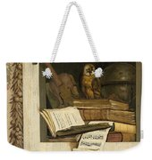 Still Life With Books Sheet Music Violin Celestial Globe And An Owl Weekender Tote Bag
