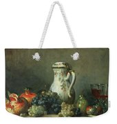 Still Life With Grapes And Pomegranates Weekender Tote Bag by Jean-Baptiste Simeon Chardin