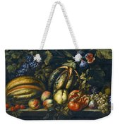Still Life With Melons Apples Cherries Figs And Grapes On A Stone Ledge Weekender Tote Bag