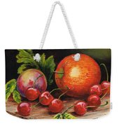 Still Life With Peaches And Cherries  Weekender Tote Bag
