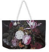 Still Life With Peonies Roses Irises Poppies And A Tulip With Butterflies A Dragonfly And Other Inse Weekender Tote Bag