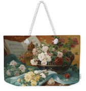 Still Life With Roses In A Cup Ornamental Object And Score Weekender Tote Bag