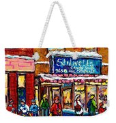 Stilwell's Candy Shop Montreal Memories Lasalle Verdun Winter City Scene Hockey Art Carole Spandau   Weekender Tote Bag