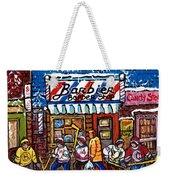Stilwell's Candy Stop Winterscene Painting For Sale Montreal Hockey Art C Spandau Snowy Barber Shop Weekender Tote Bag