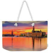 Stockholm Fiery Sunset Reflection Weekender Tote Bag