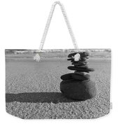 Stone Balance On The Beach In Monochrome Weekender Tote Bag