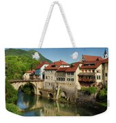 Stone Capuchin Bridge With Statue Of St John Of Nepomuk With His Weekender Tote Bag