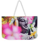 Stone Carved Statue Of Buddha Surrounded With Colorful Flowers Bali, Indonesia Weekender Tote Bag