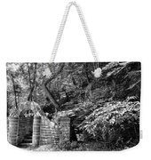 Stone Stairway Along The Wissahickon Creek In Black And White Weekender Tote Bag