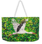 Stork In Flight Weekender Tote Bag