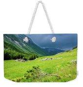 Storm Approaching Over Beautiful Green Field In Norway Weekender Tote Bag