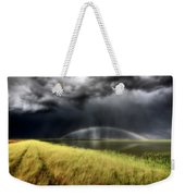 Storm Clouds And Rainbow Over Chaplin Lake Marshes Weekender Tote Bag
