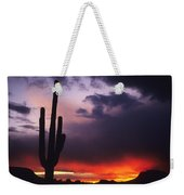 Storm Clouds Pass Over A Saguaro Catus Weekender Tote Bag