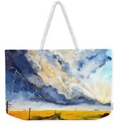 Storm Over The Country Road Weekender Tote Bag