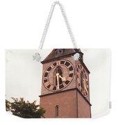 St.peter Church Clock In Zurich Switzerland Weekender Tote Bag