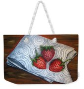 Strawberries-3 Contemporary Oil Painting Weekender Tote Bag