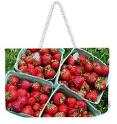 Strawberries In A Box On The Green Grass Weekender Tote Bag