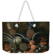 Strawberries In A Porcelain Bowl With Pineapples Melons Peaches And Figs Before A Tropical Landscape Weekender Tote Bag