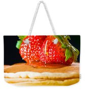 Strawberry Butter Pancake With Honey Maple Sirup Flowing Down Weekender Tote Bag
