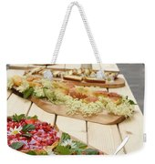 Strawberry Cake And Other Snacks On A Wood Table Outdoors On Sta Weekender Tote Bag