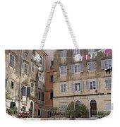 street and old buildings Corfu town Weekender Tote Bag