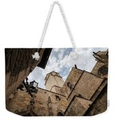 Street Behind The Barcelona Cathedral In Spain. Weekender Tote Bag