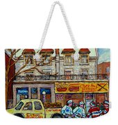 Street Hockey Pointe St Charles Winter  Hockey Scene Paul's Restaurant Quebec Art Carole Spandau     Weekender Tote Bag