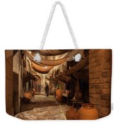 Street In Gothic District Of Barcelona At Night Weekender Tote Bag
