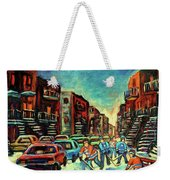 Streetscenes Of Montreal Hockey Paintings By Montreal Cityscene Specialist Carole Spandau Weekender Tote Bag