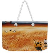 Stressie Cat And Crows In The Hay Fields Weekender Tote Bag