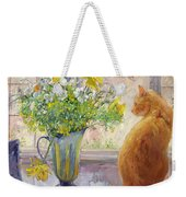 Striped Jug With Spring Flowers Weekender Tote Bag