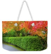 Strolling Path Lined With Japanese Maple Trees In Fall Weekender Tote Bag