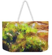Structure Of Wooden Log Covered With Moss, Closeup Painting Detail. Weekender Tote Bag