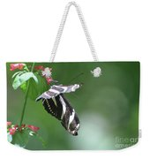 Stunning Zebra Butterfly On A Pink Flower Weekender Tote Bag