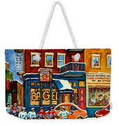 St.viateur Bagel Hockey Montreal Weekender Tote Bag by Carole Spandau