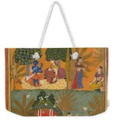 Style Of Manohar    Krishna And Radha With Their Confidantes Page From A Dispersed Gita Govinda Weekender Tote Bag