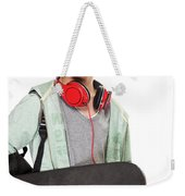 Stylish Boy With Skateboard Weekender Tote Bag