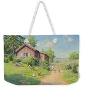 Subjects With Girl And Pecking Chickens Weekender Tote Bag