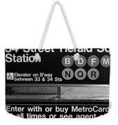Subway 34 Street Weekender Tote Bag