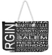 Subway Virginia State 2 Square Weekender Tote Bag