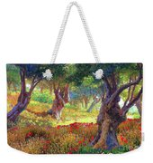 Tranquil Grove Of Poppies And Olive Trees Weekender Tote Bag