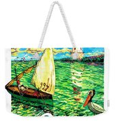 Sulina, Romania, Sailing Boat, Lighthouse Weekender Tote Bag