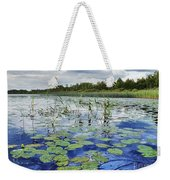 Summer Blue  Lake Under Clody Grey Sky With Forest On Coast Weekender Tote Bag
