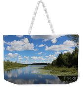 Summer Cloud Reflections On Little Indian Pond In Saint Albans Maine Weekender Tote Bag