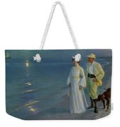 Summer Evening On The Beach At Skagen The Artist And His Wife Weekender Tote Bag