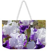 Summer Iris Garden Art Print White Purple Irises Flowers Baslee Troutman Weekender Tote Bag